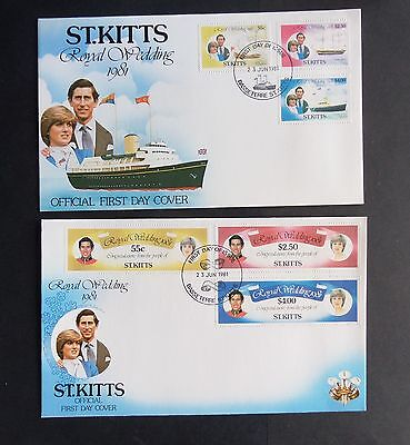 St Kitts 1981 Royal Wedding FDC First Day Cover Yachts boat Charles Diana