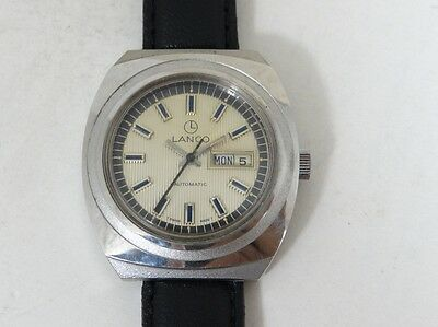 Vintage Lanco Automatic Day And Date Men Wrist Watch Swiss Made.