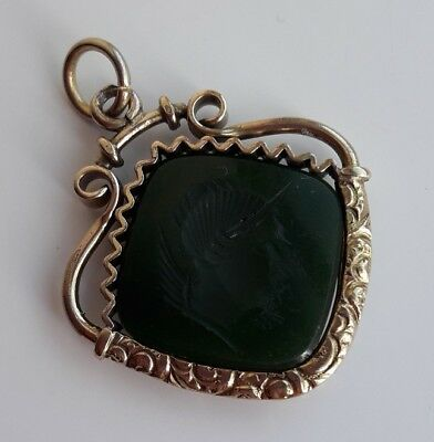 Antique Victorian Rolled Gold Gilt Metal Green Stone Intaglio Cameo Pendant Fob