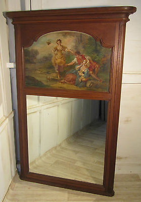 A Large 19th Century French Oak Trumeau Mirror, Oil on Canvas