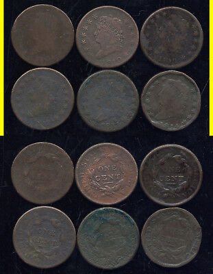 Lot Of 6 Classic Head Large Cents-1808-1810-1812-1812-1813-1814