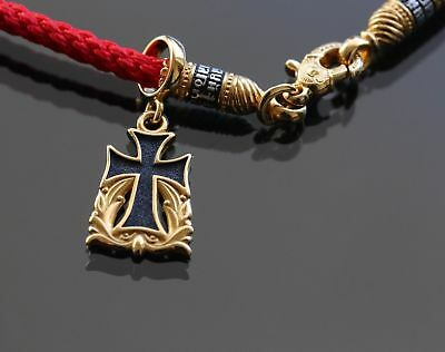 Orthodox Russian Pendant Cross Save And Protect Silver 925+999Gold+Red Neck Cord