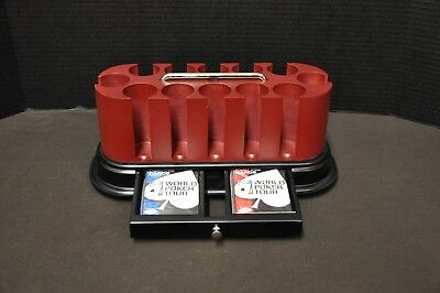 Official WORLD POKER TOUR Oval Cherry Spinning Carousel 300 Chip Rack Set+Cards