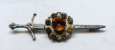 Solid silver Scottish brooch set with yellow stones