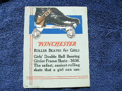 Winchester Store Two Sided Cardboard Sign Poster Roller Skates Cutlery Calendar
