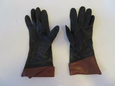 Womens Shag Leather Black Brown Gloves Size 7