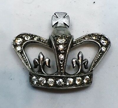 Solid silver crown brooch set with white stones