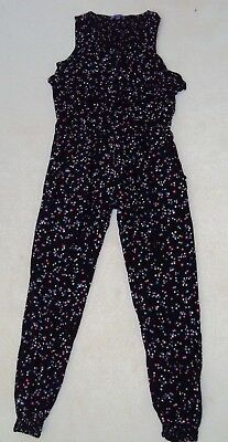 Girls Black Multi Star Patterned Sleeveless Jumpsuit Size 11 Years From M&S