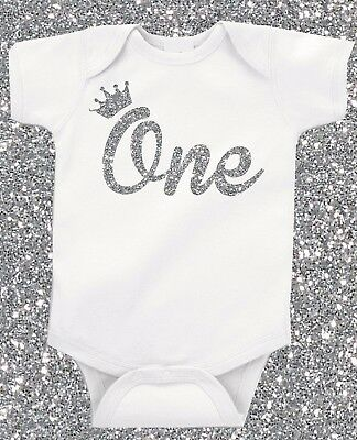 Silver Glitter First 1st Birthday ONE Crown  Birthday Baby Grow Vest Free P&P