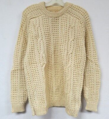 Vintage 60s 70s Sweater Wool Crewneck Cable Knit Cream Waffle Round Tower M