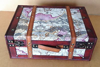 Replica Vintage-Style World Map Decorative Wooden Suitcase (HF 004A)