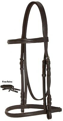 SHOW JUMPING RAISED LEATHER PECAN BROWN ENGLISH RIDING HORSE TACK BRIDLE REINS