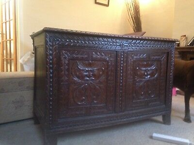 beautiful hand carved oak chest 17th century