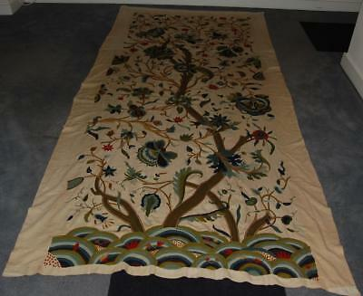 "Antique Embroidered Curtain Tree of Life Jacobean Style 108""x 50"" c1900-20"