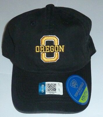 Nwt Top Of The World Oregon Ducks O Logo Adjustable Ball Cap Hat Youth Black