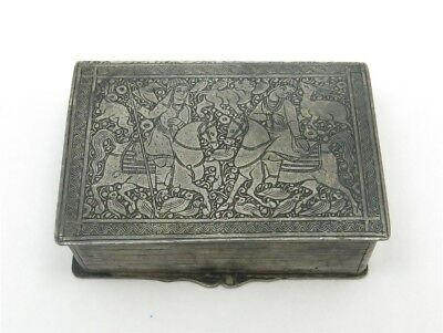 Vintage 950 Silver Asian Detailed Scenic Book Shaped Trinket Box