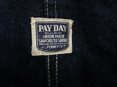 Vintage Denim Overalls Pay Day Sanforized Mens Size 44 X 31 Indigo Bibs