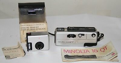 Minolta 16 QT Miniature Camera With Cube Flash lMade In Japan 1972-1974