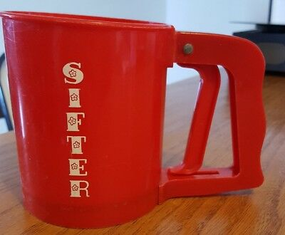 Vintage Red Plastic Sifter ~ Popeil Brothers #18 ~ Chicago, Ilinois