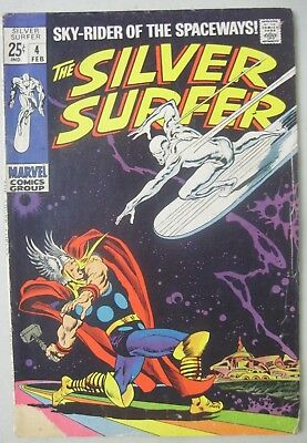 The Silver Surfer #4 Marvel Comics 1969 Low Distribution Thor App. John Buscema