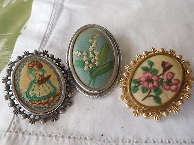 Three Lovely Vintage 1950s Embroidered Brooches