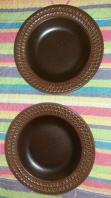 """2 Rustic brown Wedgewood Pennine soup pasta bowls  plates 9"""" oven to table!"""