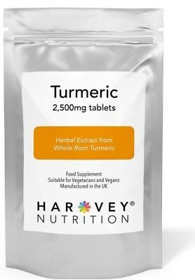Turmeric Tablets 2500mg : 95%  Turmeric Curcumin  HIGH STRENGTH  GMP FREE POST