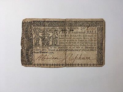 March 1, 1770 Annapolis Maryland Eight 8 Dollars with 18th-c Nail V GOOD