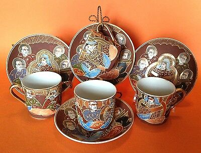 Satsuma 4 Demitasse Tea Cups And Saucers -Hand Painted With Gilding And Moriage