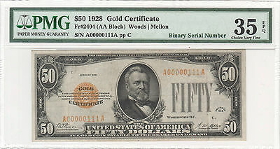 1928 $50 Gold Certificate, 3 Digit Binary Serial Number, Epq, Unique And Rare!!