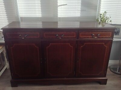 Antique style mahogany sideboard Brown furniture drawers cupboards Shabby Chic