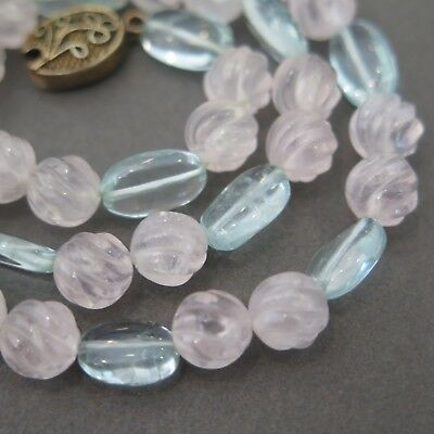 Vintage Chinese Sterling Silver Carved Rose Quartz Aquamarine Bead Necklace