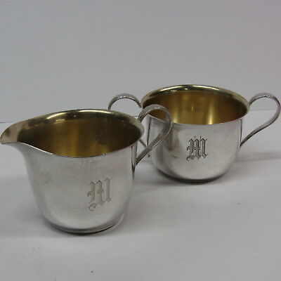 "Gorham Sterling Silver Cream & Sugar 299 300 Etched Initial ""M"" 5.4 Oz Antique"