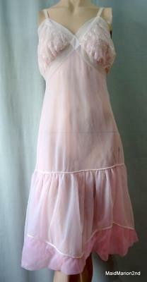 VINTAGE SILKY SHEER DOUBLE LAYER PINK NYLON FULL SLIP- LACE TRIM - Med