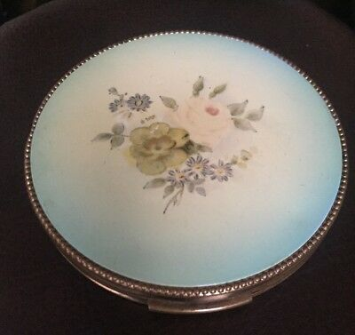 Vintage EVANS  Powder Compact With Flowers On Lid, & Goldtone
