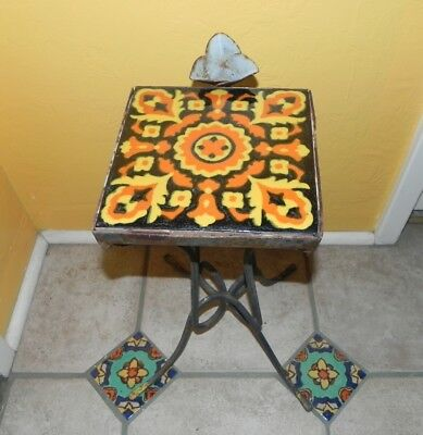 Vintage Tailor Tile Smoking Wrought Iron Stand, Table w/ Match, Cigarette Holder