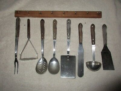 Lot 8 Vintage MCM Hanging Kitchen Utensils with Bracket