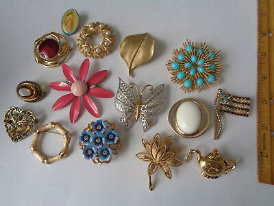 Lot of 15 Avon and Other Vintage Brooches, Pins - Flowers, Butterfly, and More