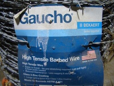 "50 Ft Gaucho  Barb Wire 15.5 Gauge 4 pt Barb Wire w/ 20 1 1/4"" Fence Staples NEW"