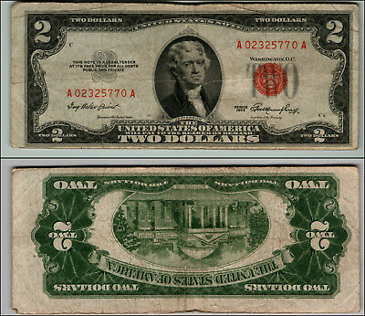 1953 $2 Dollar Bil Us Note Legal Tender Paper Money Currency Red Seal W334