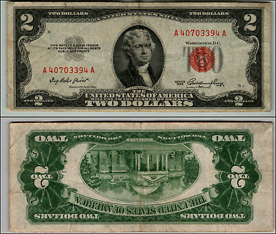 1953 $2 Dollar Bil Us Note Legal Tender Paper Money Currency Red Seal W327
