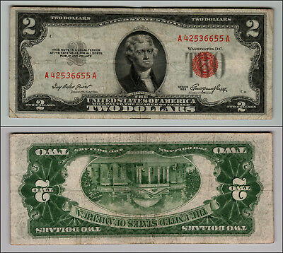 1953 $2 Dollar Bil Us Note Legal Tender Paper Money Currency Red Seal W330