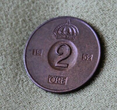 1952 Sweden 2 Ore Average Circulated Condition Scarce & Highly Collectible