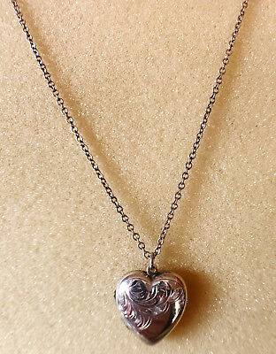 Solid silver heart locket and chain