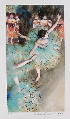 EDGAR DEGAS Danseuses Basculant Estate Signed Numbered Small Giclee GREEN DANCER