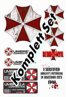 Umbrella Corporation komplett Set Bunte Sticker Aufkleber Digital JDM Style