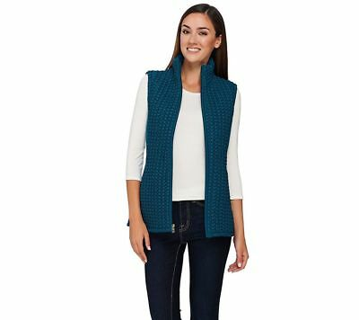 Susan Graver Fitted Zip Quilted Textured Slvless Vest Pockets Teal S NEW A268575