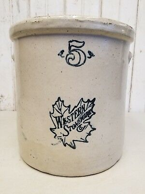 Antique 5 Gallon Western Stoneware Crock ~ Vintage Primitive Maple Leaf Decor
