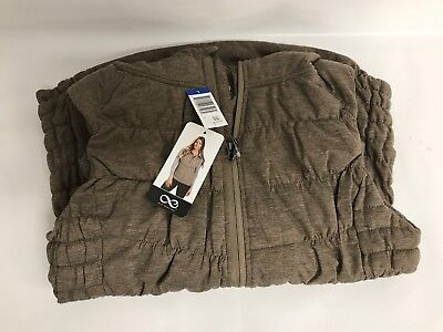 Be by Blanc Noir Womens Breathable Quilted Knit Hooded Vest (Large Oatmeal)