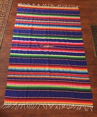 Vintage Mexican Striped Serape Blanket/Throw,Bright,Multicolored,57 By 85 Inches